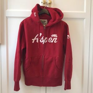 Roots Red Aspen zip-up hoodie sweatshirt size XS